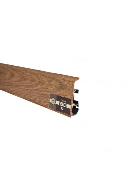 Плинтус пластиковый с кабель-каналом Arbiton Indo 12 Дуб Темный 70х26, 1 м.п.