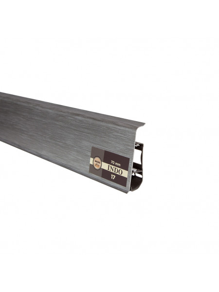 Плинтус пластиковый с кабель-каналом Arbiton Indo 17 Алюминиум 70х26, 1 м.п.