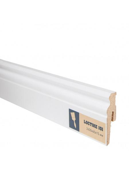 Плинтус Arbiton Loctike 101 МДФ белый фигурный под покраску 60х15, 1 м.п.