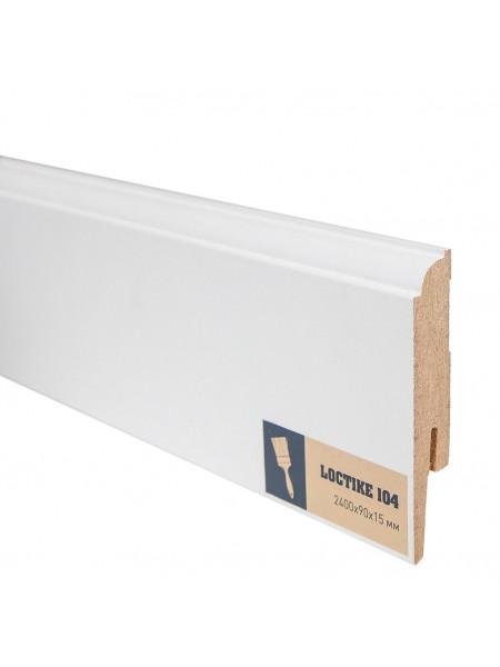 Плинтус Arbiton Loctike 104 МДФ белый фигурный под покраску 90х15, 1 м.п.