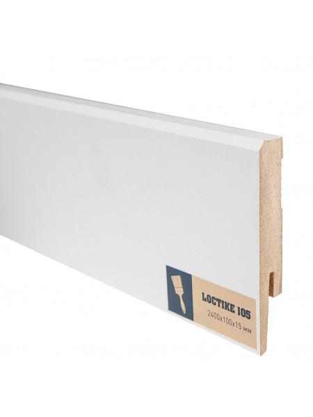 Плинтус Arbiton Loctike 105 МДФ белый прямой под покраску 100х15, 1 м.п.