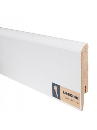 Плинтус Arbiton Loctike 108 МДФ белый прямой под покраску 100х15, 1 м.п.