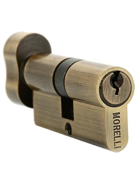 Цилиндр ключевой с поворотной ручкой Morelli 50CK AB бронза
