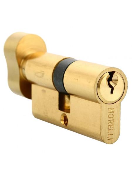 Цилиндр ключевой с поворотной ручкой Morelli 50CK PG золото