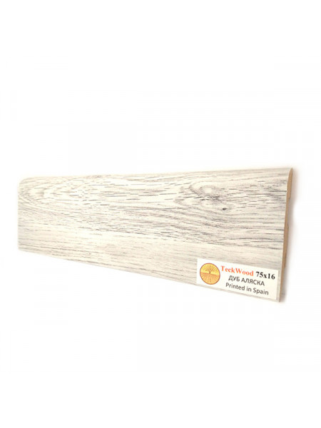 Плинтус Teckwood (Теквуд) МДФ цветной прямой Дуб Аляска 2150х75х16
