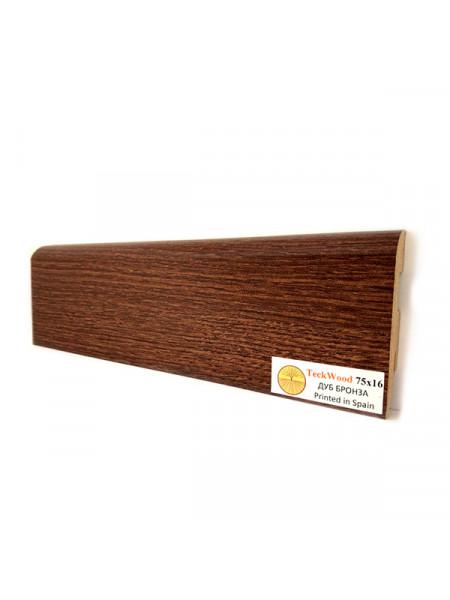 Плинтус Teckwood (Теквуд) МДФ цветной прямой Дуб Бронза 75х16, 1 м.п.