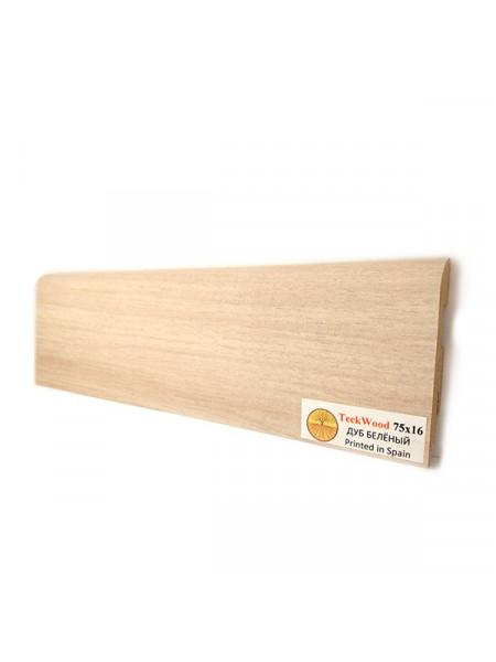 Плинтус Teckwood (Теквуд) МДФ цветной прямой Дуб беленый 75х16, 1 м.п.