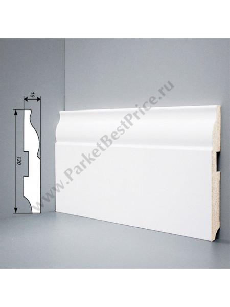 Плинтус Deartio (Деартио) U103-120 МДФ белый фигурный 2050х120х16