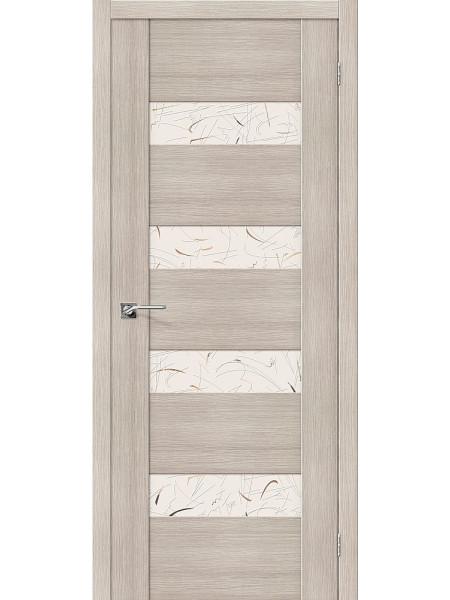 Межкомнатная дверь el'PORTA (Эль Порта) Vetro эко шпон VM4 Cappuccino Veralinga Silver Art, полотно