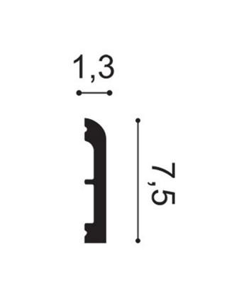 Плинтус из дюрополимера Orac (Орак) DX183-2300 CASCADE 75х13, 1 м.п.