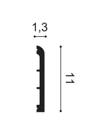 Плинтус из дюрополимера Orac (Орак) DX184-2300 CASCADE 110х13, 1 м.п.