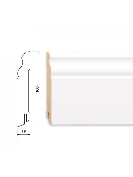 Плинтус Pedross (Педросс) МДФ белый фигурный 100х18, 1 м.п.