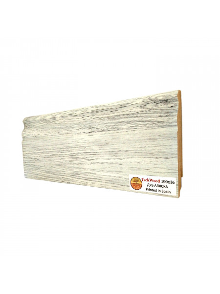 Плинтус Teckwood (Теквуд) МДФ цветной фигурный Дуб Аляска 100х16, 1 м.п.