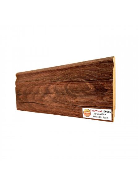 Плинтус Teckwood (Теквуд) МДФ цветной фигурный Дуб Амбар 100х16, 1 м.п.