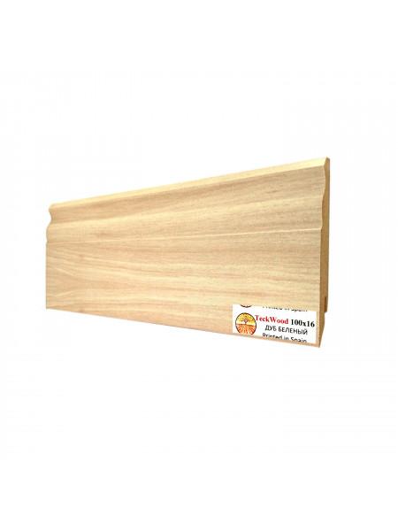 Плинтус Teckwood (Теквуд) МДФ цветной фигурный Дуб беленый 100х16, 1 м.п.