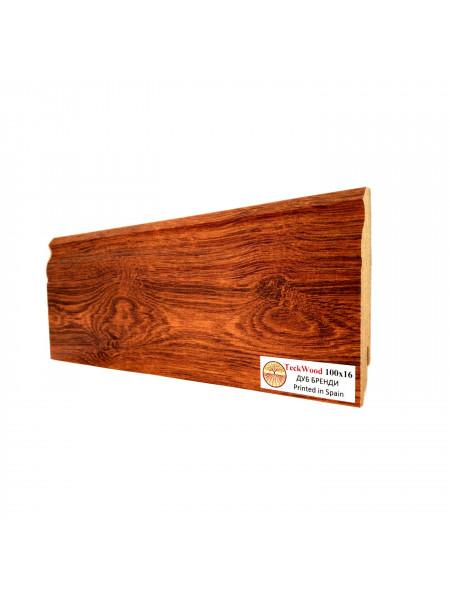 Плинтус Teckwood (Теквуд) МДФ цветной фигурный Дуб Бренди 100х16, 1 м.п.