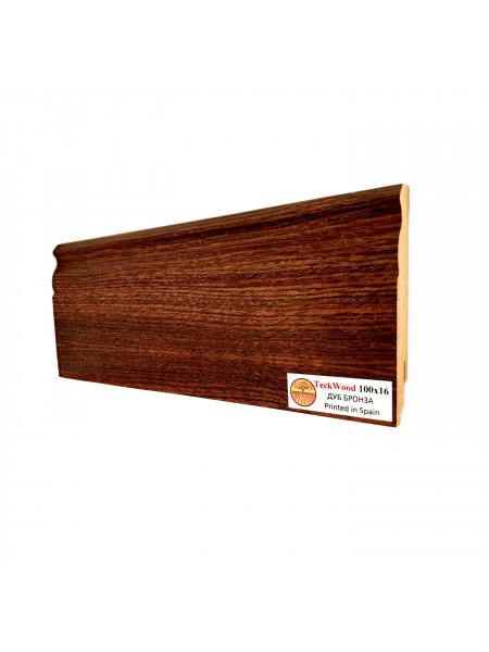 Плинтус Teckwood (Теквуд) МДФ цветной фигурный Дуб Бронза 100х16, 1 м.п.
