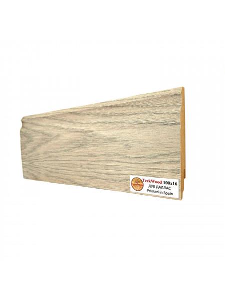 Плинтус Teckwood (Теквуд) МДФ цветной фигурный Дуб Даллас 100х16, 1 м.п.