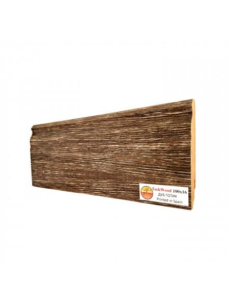 Плинтус Teckwood (Теквуд) МДФ цветной фигурный Дуб Готик 100х16, 1 м.п.