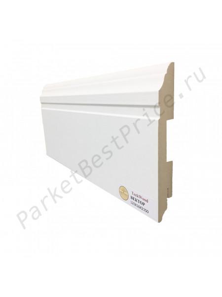 Плинтус Teckwood (Теквуд) МДФ белый фигурный ВЕКТОР 120х16, 1 м.п.