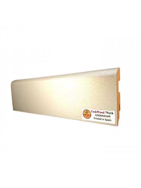 Плинтус Teckwood (Теквуд) МДФ цветной прямой Алюминий 75х16, 1 м.п.