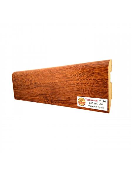 Плинтус Teckwood (Теквуд) МДФ цветной прямой Дуб Бренди 75х16, 1 м.п.