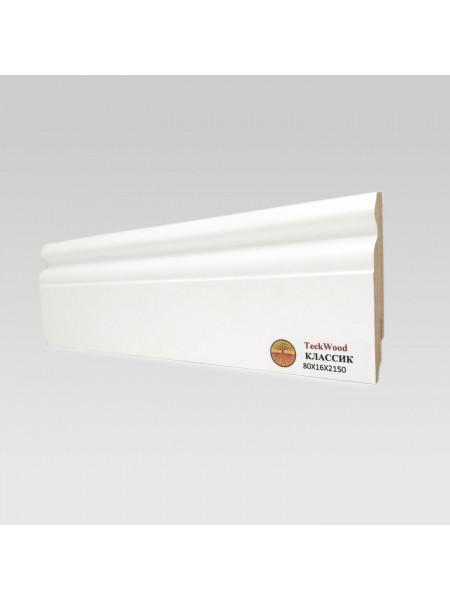 Плинтус Teckwood (Теквуд) МДФ белый фигурный КЛАССИК 80х16, 1 м.п.