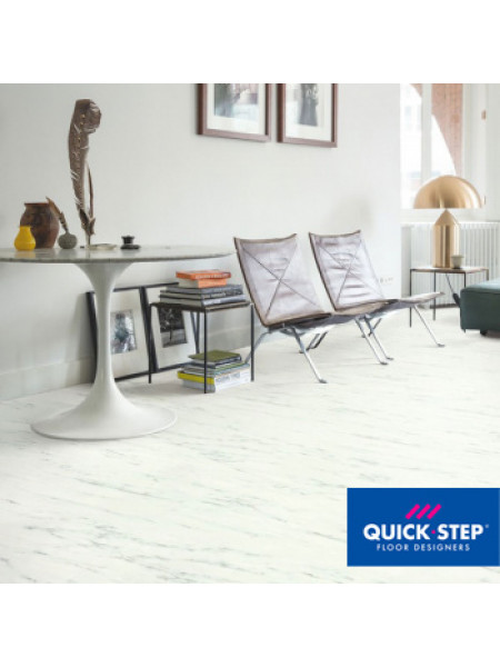 ПВХ-плитка Quick-Step Ambient Glue Plus AMGP 40136 Мрамор каррарский белый